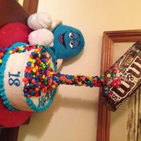 M&m Cake Two layer chocolate cake with cookies and cream filling for an 18th birthday. This gravity defying cake was harder than I thought! TFL!RJ