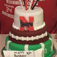 Nebraska Husker Cake This is a cake I made for my borther's 30th birthday party. It was my first attempt at a tiered cake. Each tier is covered in homemade...