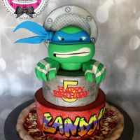 Teenage Mutant Ninja Turtles Cake! A 10 and 8 inch two tier Ghiradalli chocolate cake with chocolate whipped filling, the turtle head was made of rice krispies and fondant...