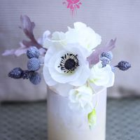 Wafer Paper Flowers: Winter Bouquet   Wafer Paper Flowers: Winter bouquet composed of a white anemone, lisianthus, gardenia, dusty miller and brunias.