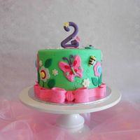 Butterflies And Flowers A birthday cake for a sweet little girl turning two.