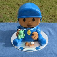 Pocoyo Cake For An Expectant Mom Wanted to include her 2 year old toddler as a part of her baby celebration. His favorite character is Pocoyo. (Only Head and body are cake...