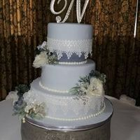 Edible Lace 3 tier fondant cake with edible lace