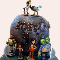 Miles From Tomorrowland Birthday Cake Vanilla cake, vanilla buttercream, fondant/modeling chocolate covering.
