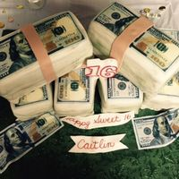 Money Cake   For a Sweet 16 cake, the girl wanted it to represent her and what she loves the most...MONEY!