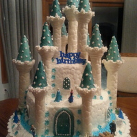 Frozen I used the Wilton castle kit. Found Frozen figures on the web. Fondant on the castle, butter cream on the cake.
