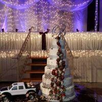 Muddy Truck Wedding Cake 6 tier buttercream iced cake with chocolate dipped strawberries