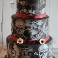 Halloween Skull Wedding Cake Halloween skull wedding cake: chocolate, vanilla and marble tiers all covered in ganache.