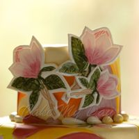 Whimsical Magnolia Hand painted cake