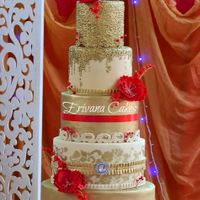Red And Gold Wedding Cake Red and Gold Wedding Cake