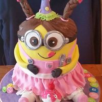 "Sweet Little Minion 8"" double stack cake with all fondant decorations"