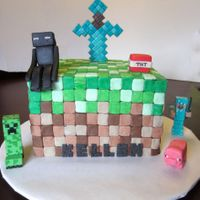 Minecraft Cake Chocolate cake with Lime Jello MMF; sword, sitting Enderman, pig and TNT made from fondant. Remainder characters store bought.