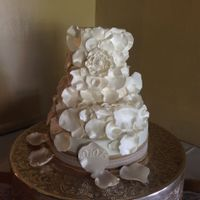 Wedding Cake Made for a bride who wanted white petals all over the cake.