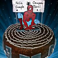 Spiderman Chocolate cake covered in chocolate Ganache