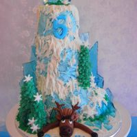 "'frozen' Mountain Cake A Mountain cake with a ""Frozen"" theme, decorated in buttercream with ice shards made from glass candy, and snow made from candy..."