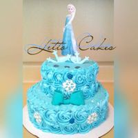 Elsa - Frozen   Tres leches cake.Whipped cream frosting