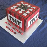 Minecraft Tnt Cake Birthday cake for my 8-year-old grandson, inspired by a photo he chose online of a cake by Sunshine Cake Shop. 3-layer (chocolate, orange...