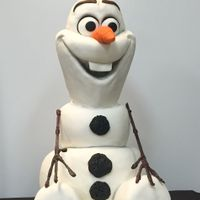 Life Sized Olaf Body is cake, head is styro with sculpted buttercream beneath the fondant.