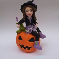 Girl On A Pumkin Girl on a pumkin - cake topper