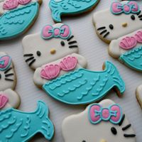 Mermaid Hello Kitty Sugar Cookies with Royal Icing