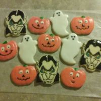 Halloween Cookies Sugar cookies decorated with glace icing, for my grandson.