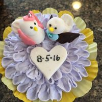 Love Bird Engagement Cupcakes Fondant Birds on flower cupcake