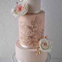 Blush Pink And Gold Wedding Cake This was display cake I did for wedding show I was in a few months ago.