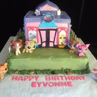 Littlest Pet Shop Cute cake for a 9 year old girl's birthday party. Everything is edible except for the animal figures.