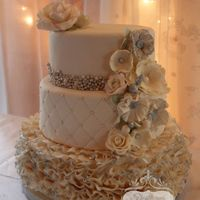 Ivory Wedding My little sister's wedding cake. Matcha green tea cake with coconut buttercream filling all covered with ivory fondant and fondant...
