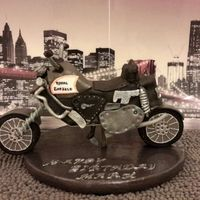 Motorcycle Cake for hubby who is going on a motorcycle trip!