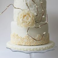 Lace Wedding Cake Wedding Cake with fondant lace and sugar peonies