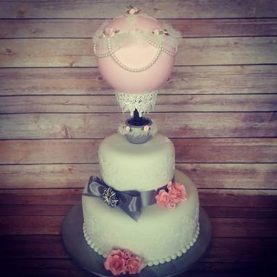 Bridal Hot Air Balloon Cake