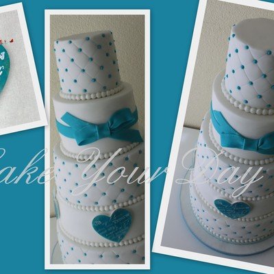 Blue &white Wedding Cake
