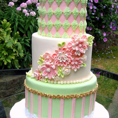 Ribbon Flower Wedding Cake