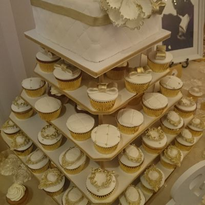Elegant Wedding Cupcakes And Cake Gold And White