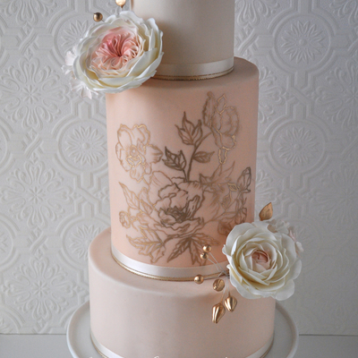 Blush Pink And Gold Wedding Cake