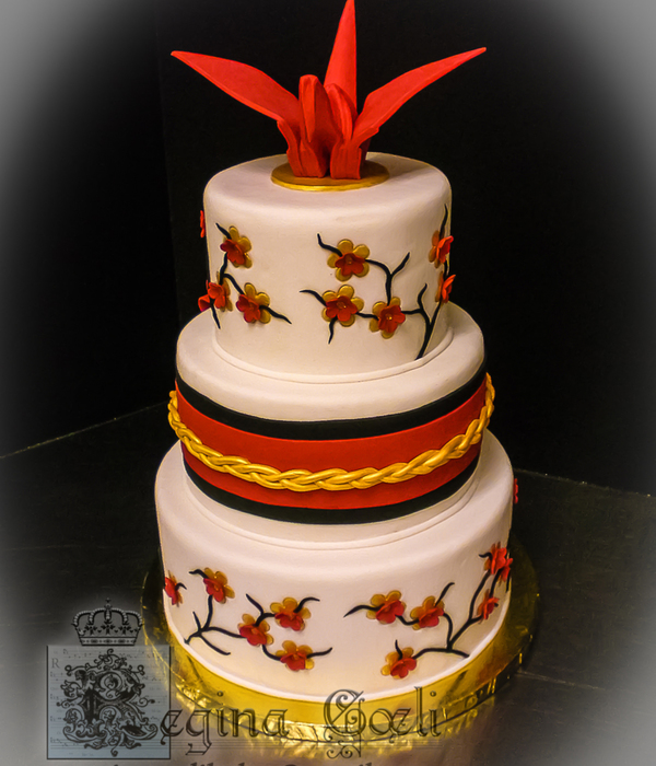 Japanese Origami Crane Wedding Cake