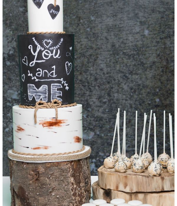 Chalkboard/birchtree Weddingcake
