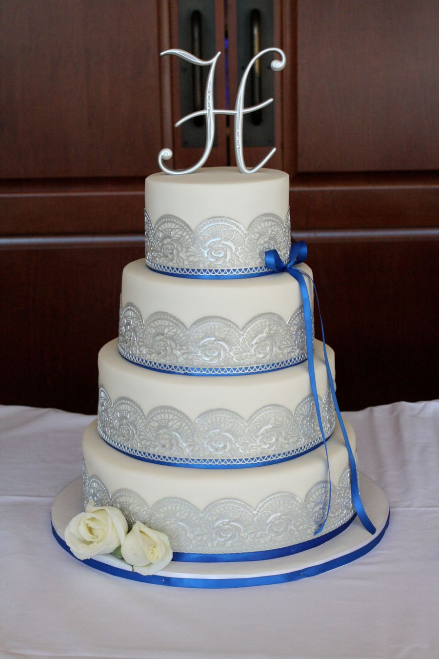 wedding cake silver and blue blue amp silver wedding cake cakecentral 24547