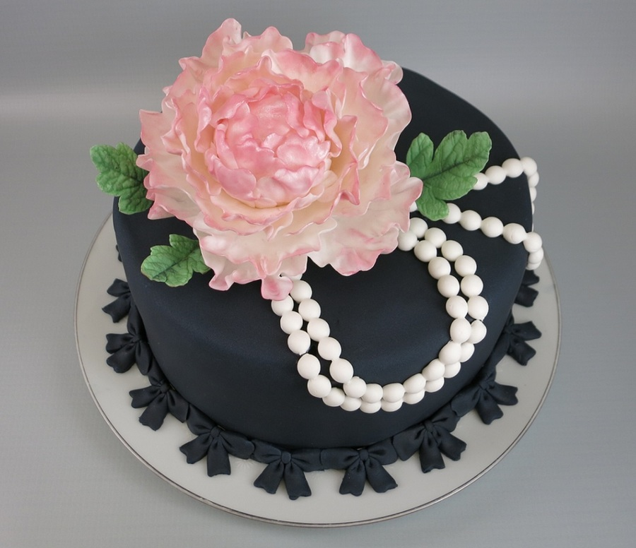 Pink Peony And Pearls on Cake Central