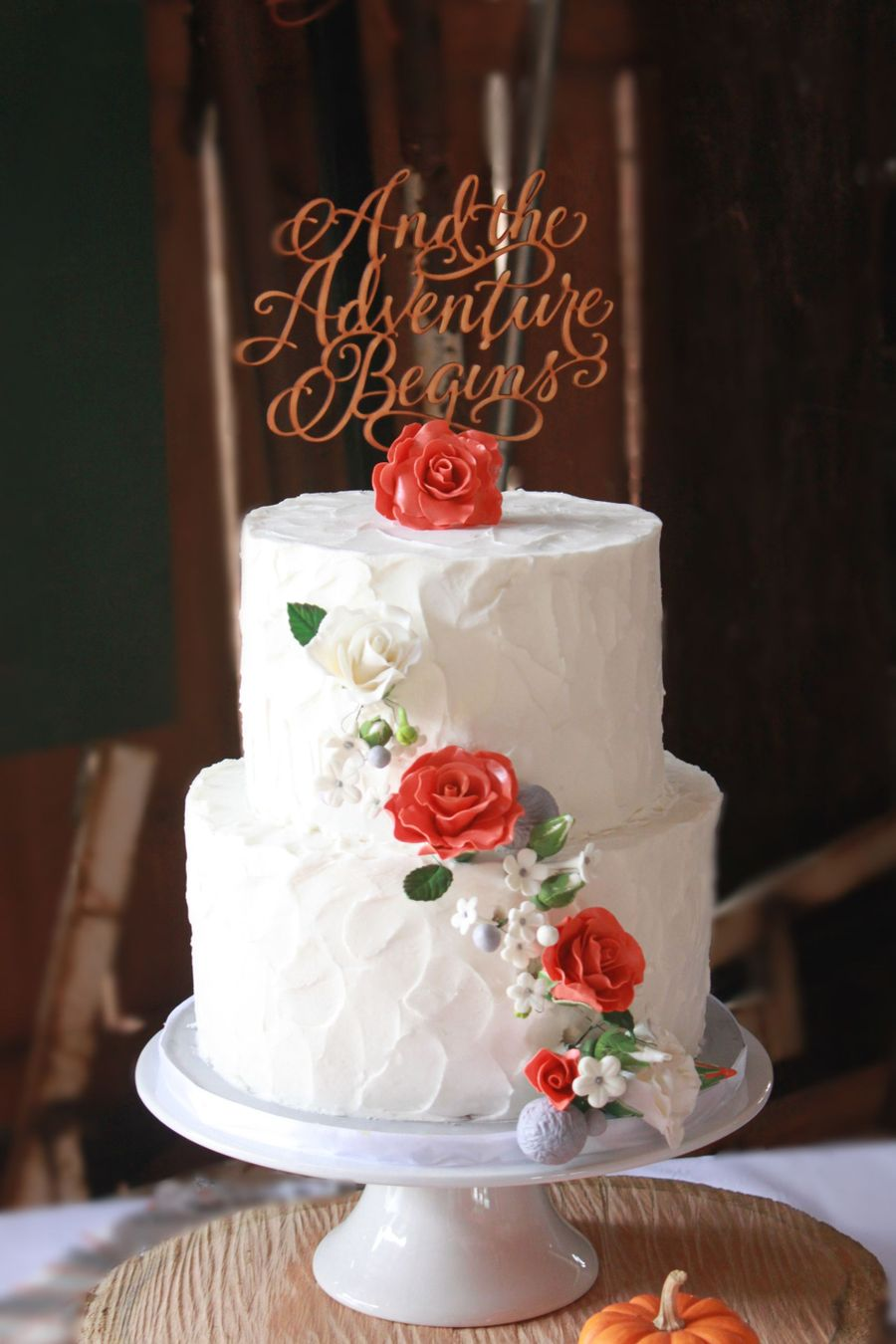 Rustic Burnt Orange Roses Cak on Cake Central