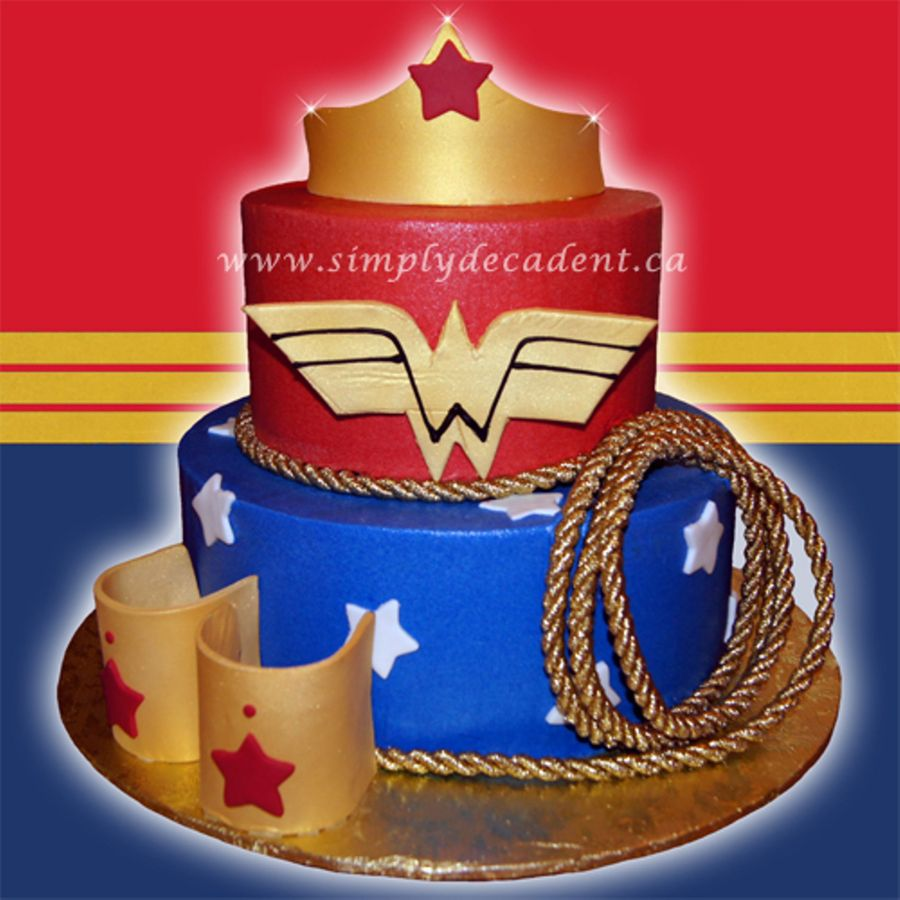 Wonder Woman Birthday Cake With Fondant Crown Bracelets Rope