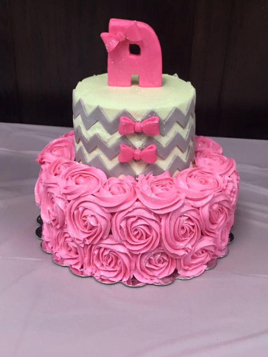 chevron and roses baby shower cake