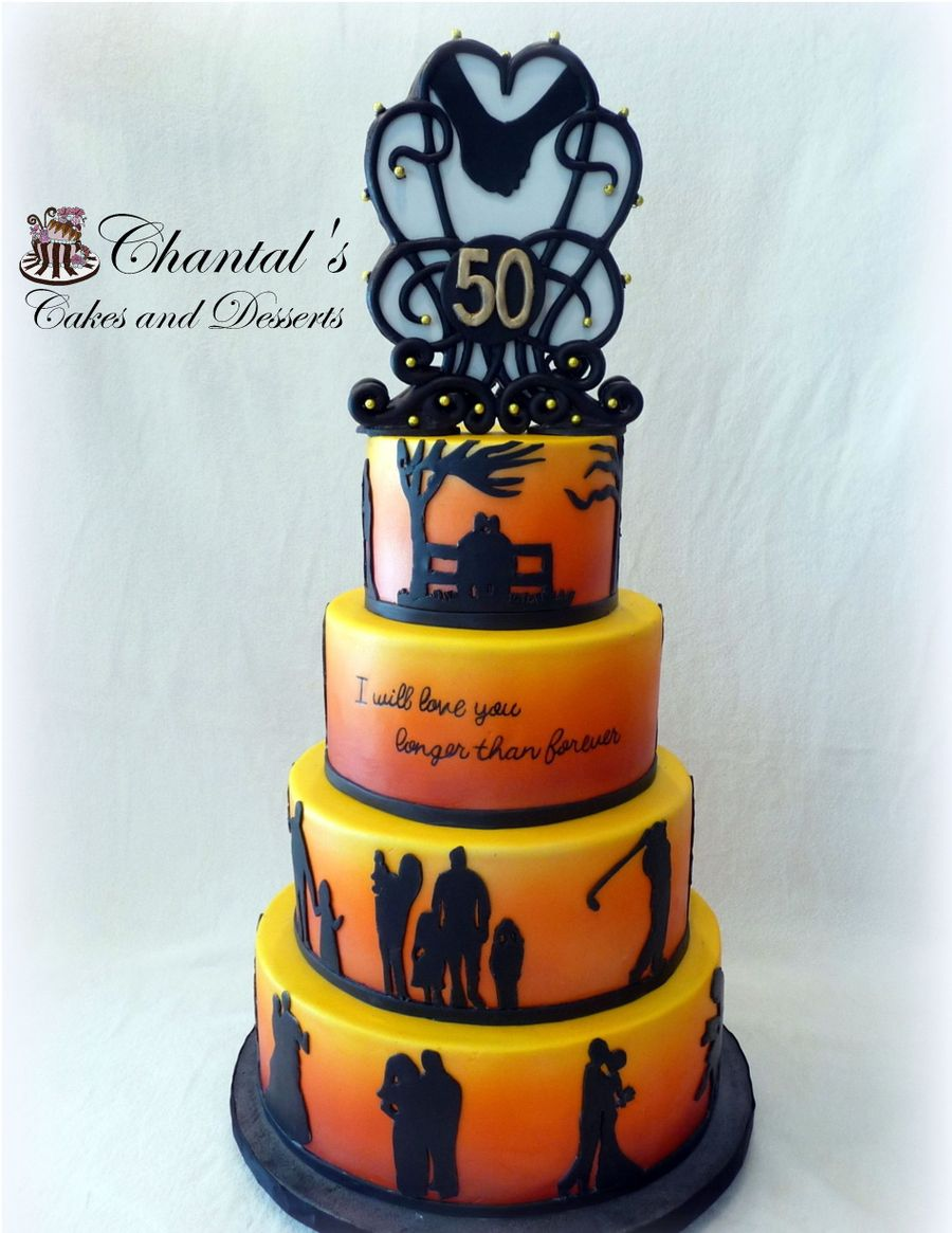 Silhouette 50th Anniversary Cake Cakecentral Com