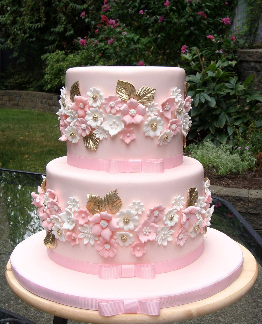 Pink And Gold Wedding Cake Cakecentral Com