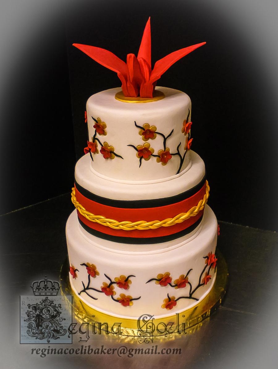 Japanese Origami Crane Wedding Cake Cakecentral Com