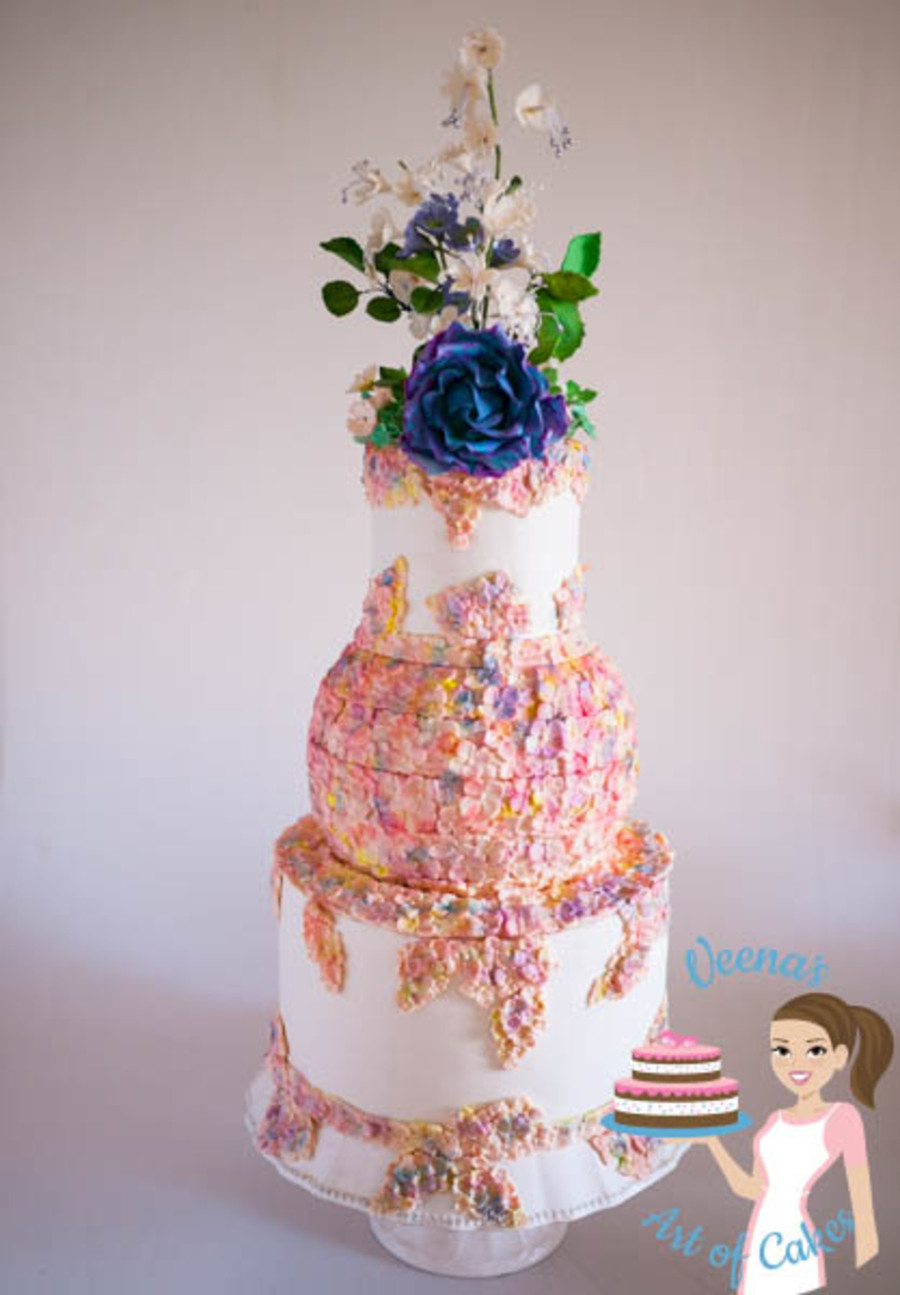 Hydrangea Blooms Wedding Cake on Cake Central
