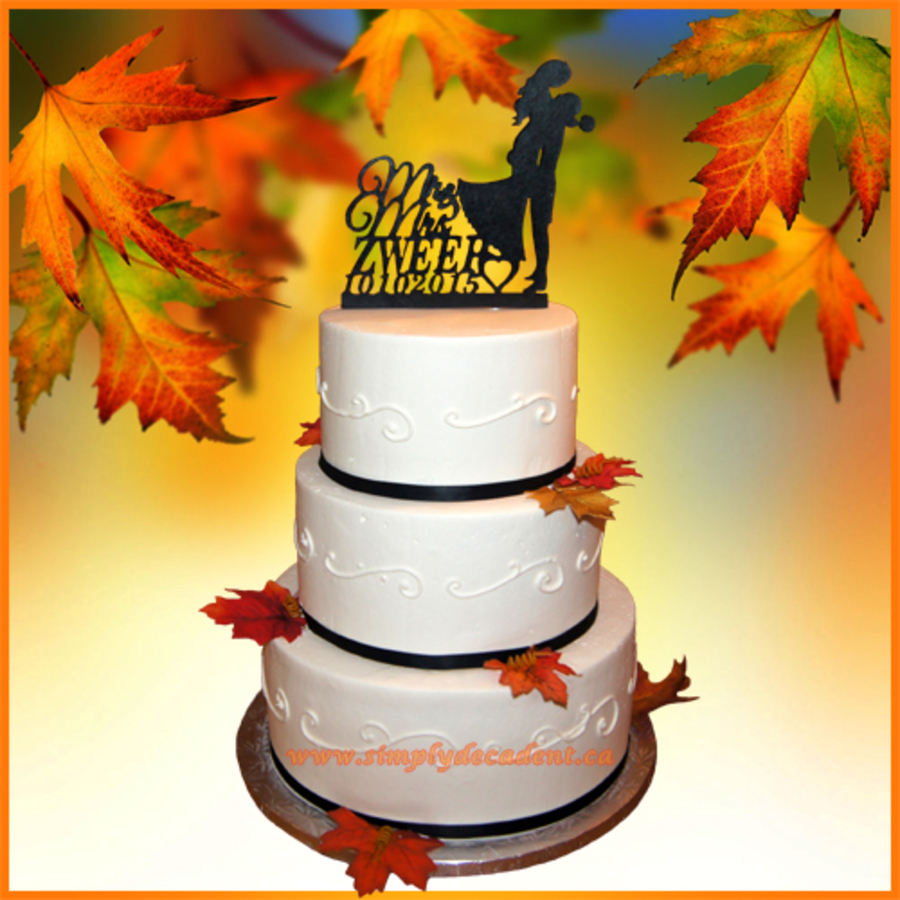 3 Tier Buttercream Wedding Cake With Fall Leaves - CakeCentral.com