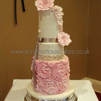 5 Tier Double Barrel Pink Roses And Rose Ruffles 5 Tier Double Barrel Pink Roses and Rose Ruffles - PJ x