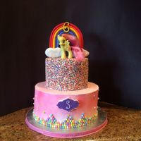 "Birthday Cake Made for little girl who loves ""my little pony"" all edible except pony."